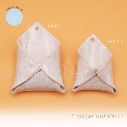 Envelope em Cerâmica Branco Craquelê